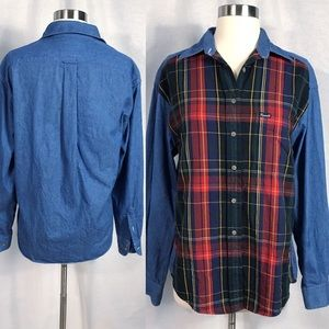 EUC✨FACCONABLE Plaid/Denim Shirt small